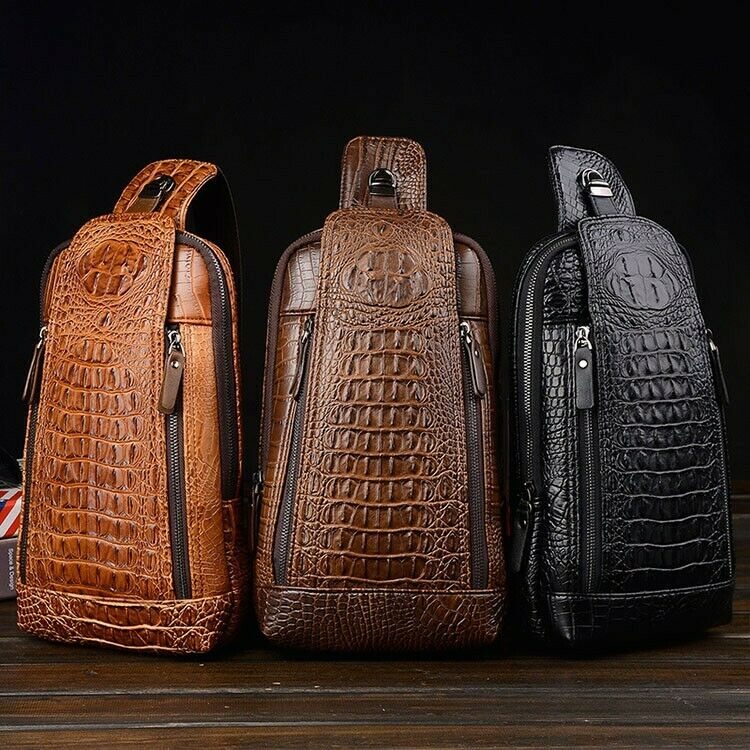 Style Men's Leather Chest Sling Bag Crossbody Backpack Daypack Purse C...