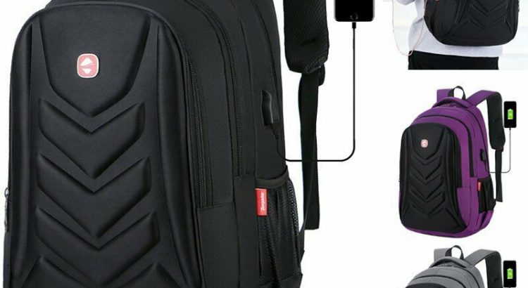 """Swiss 15.6"""" Laptop Backpack EVA Protect shell USB Charge Port Travel S..."""