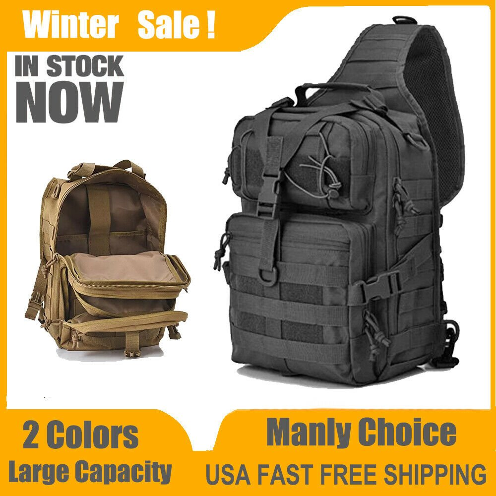 Tactical Military Backpack Army Molle Waterproof Outdoor EDC Sling Ruc...
