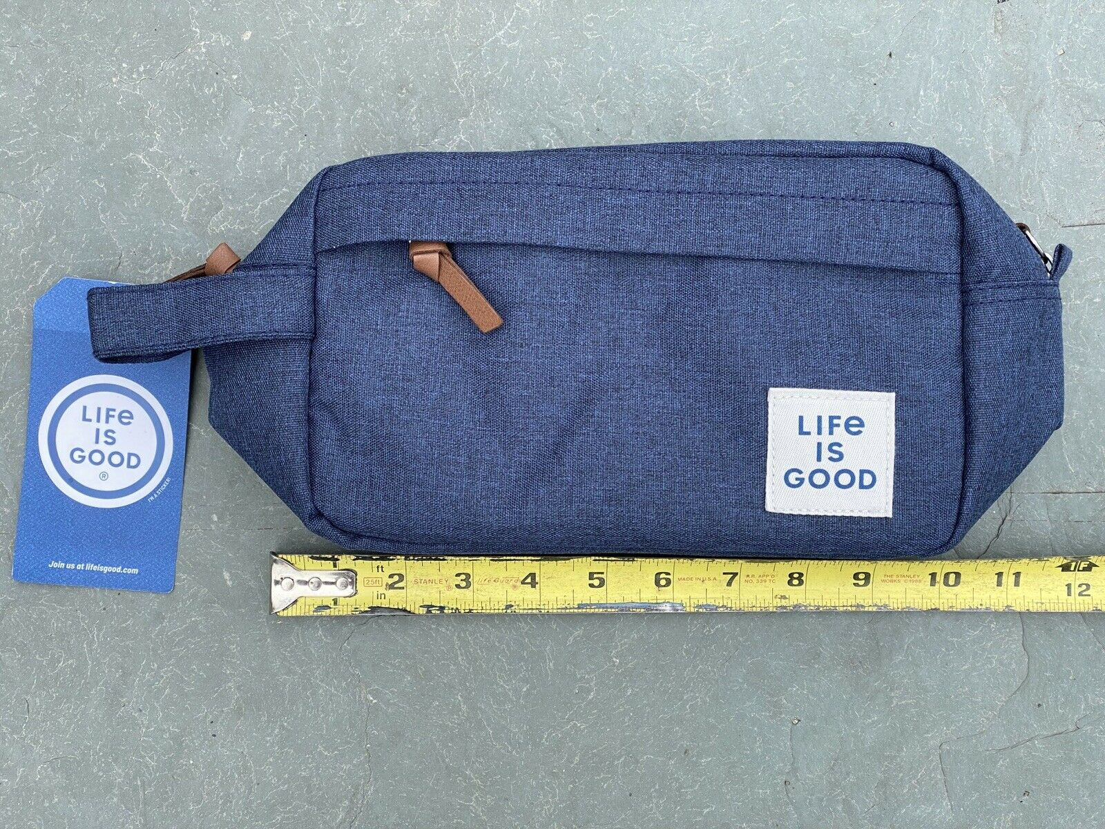 Toiletry Travel Bag 'Life Is Good' Brand New With Tags Blue Denim Look...