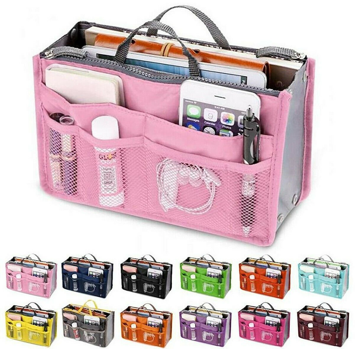 Travel Bag Women Handbag Organizer Large Liner Insert Makeup Purse Acc...