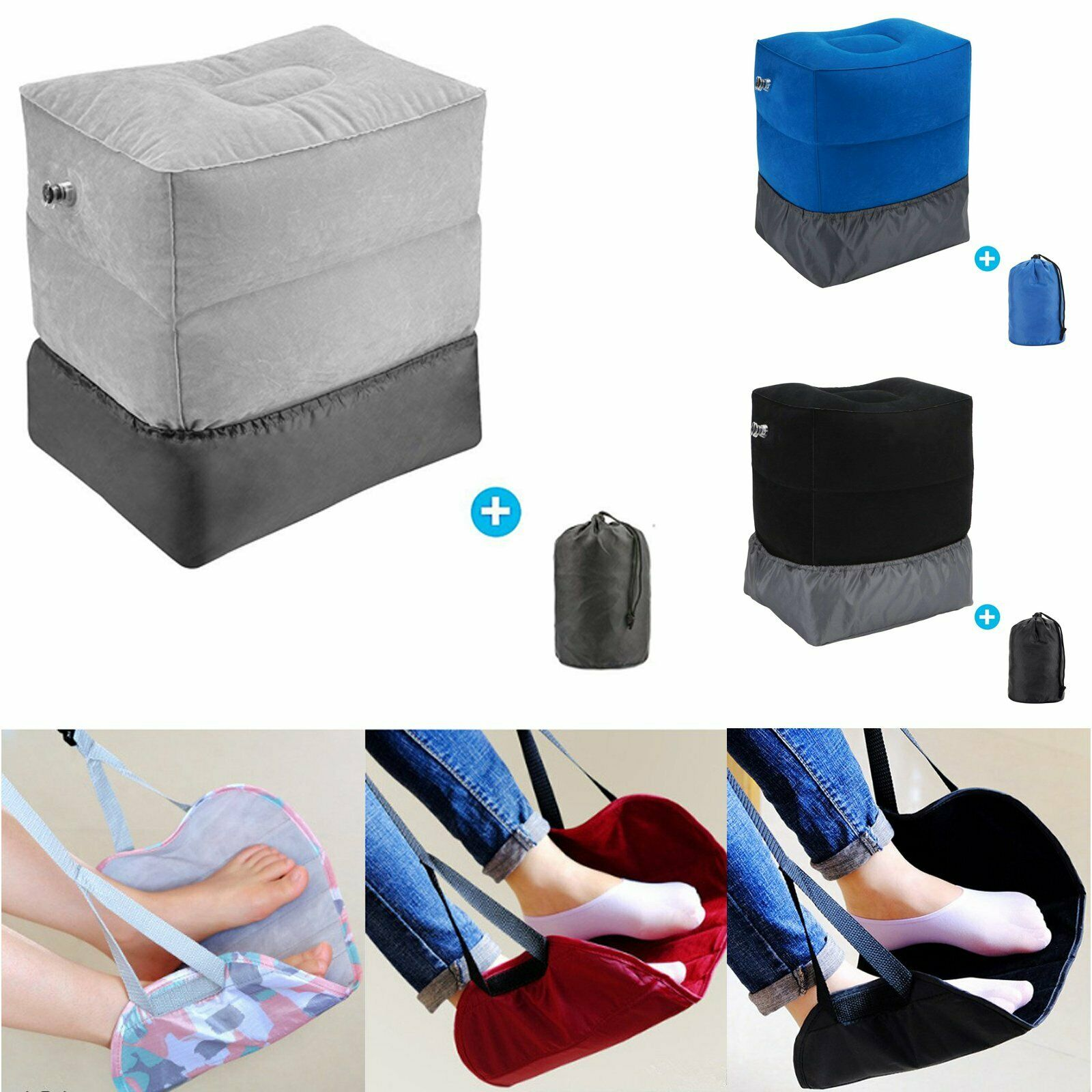 Travel Footrest Inflatable Hammock Plane Train Leg Foot Rest Pad Pillo...