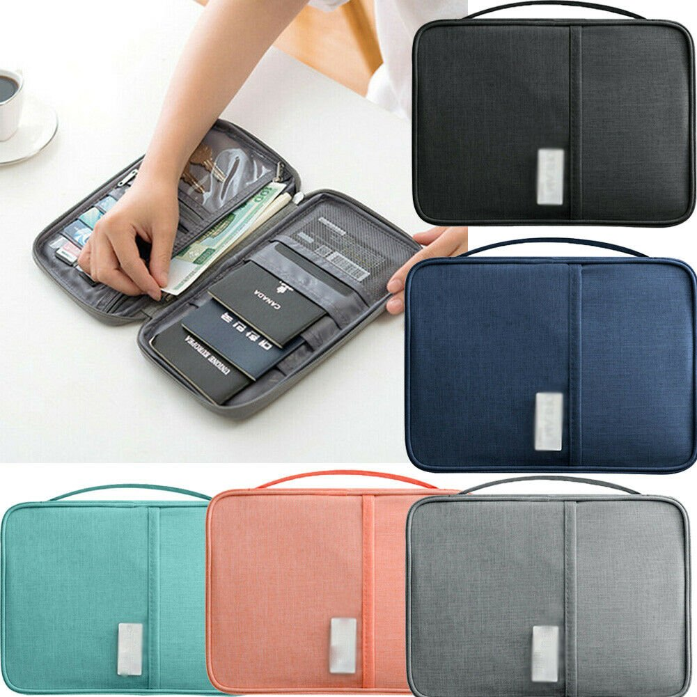 Travel Passport Credit ID Card Cash Wallet Purse Zipped Holder Case Do...