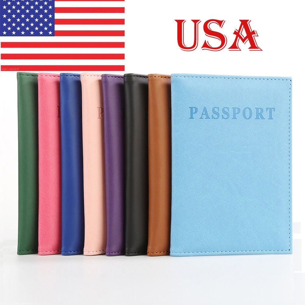 Travel Passport ID Card Cover Holder Case Faux Leather Protector Skin ...