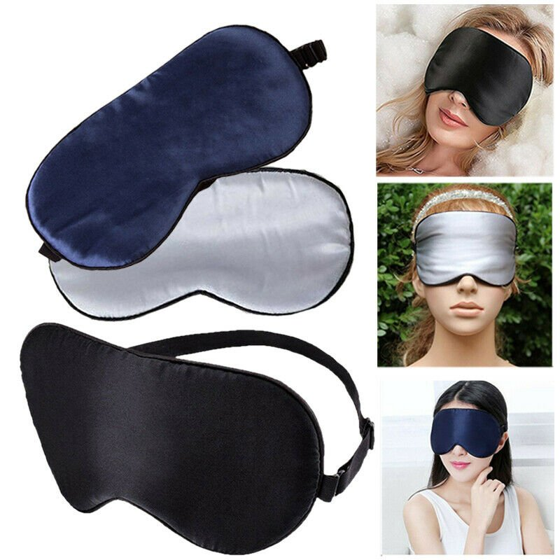 Travel Soft Silk Eye Mask Sleep Padded Shade Cover Rest Relax Sleeping...