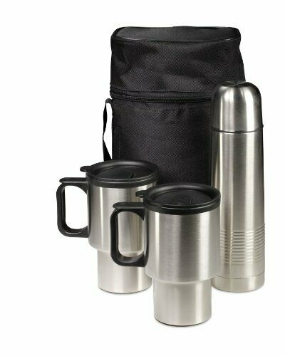 Travel Thermos and Mug Set 3 Piece With Case Stainless Steel - Hot/Col...