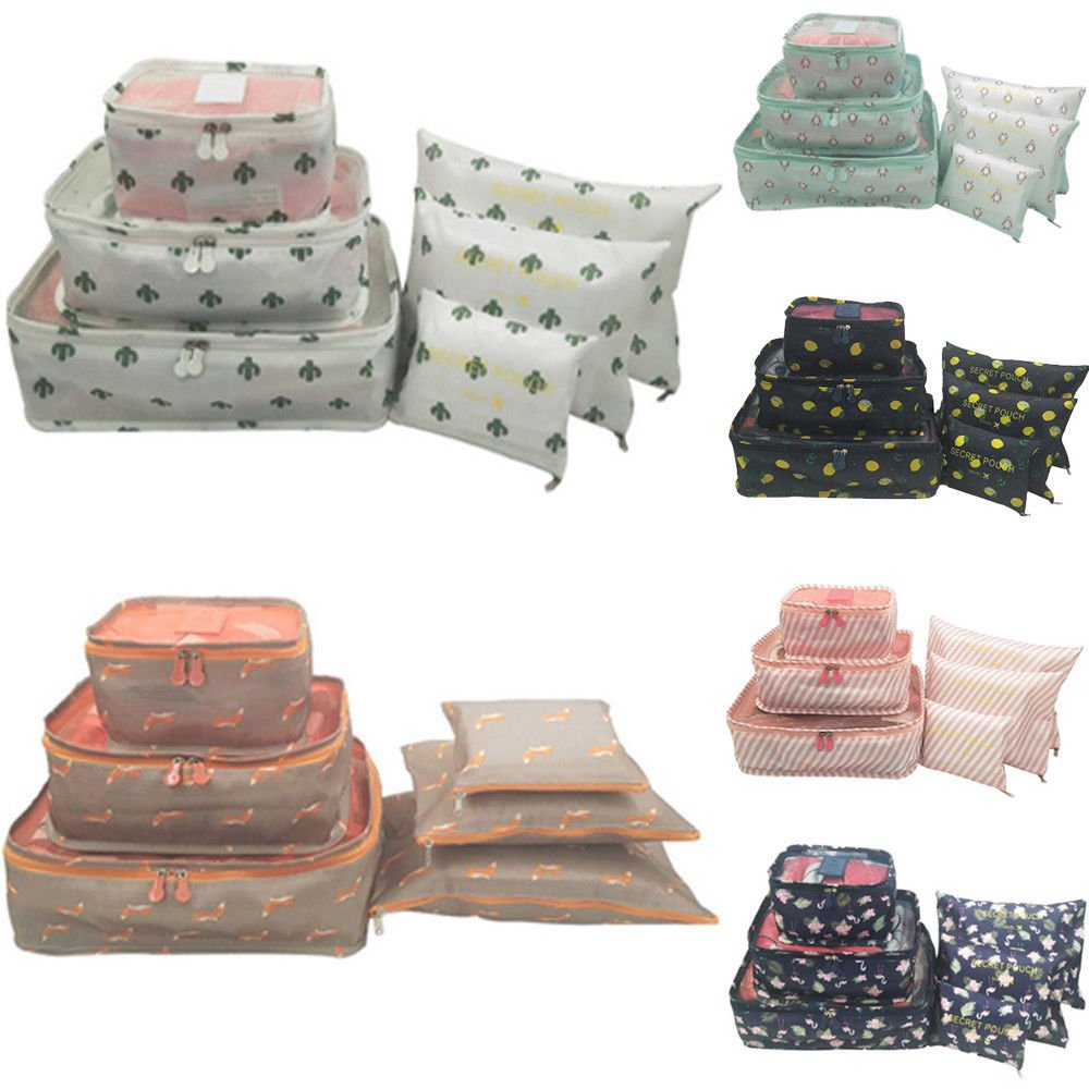 US 6Pcs Travel Storage Bag Waterproof Clothes Packing Cube Luggage Org...