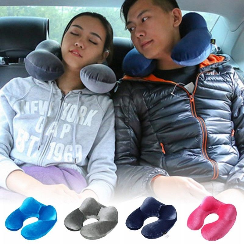US Inflatable Flight Pillow Neck Rest Head Support Air Cushion For Tra...