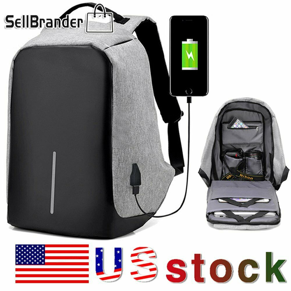 Unisex Anti-Theft Backpack Laptop Travel School Bag With USB Charging ...