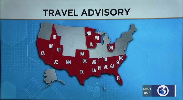 VIDEO: 22 states listed in CT's travel advisory