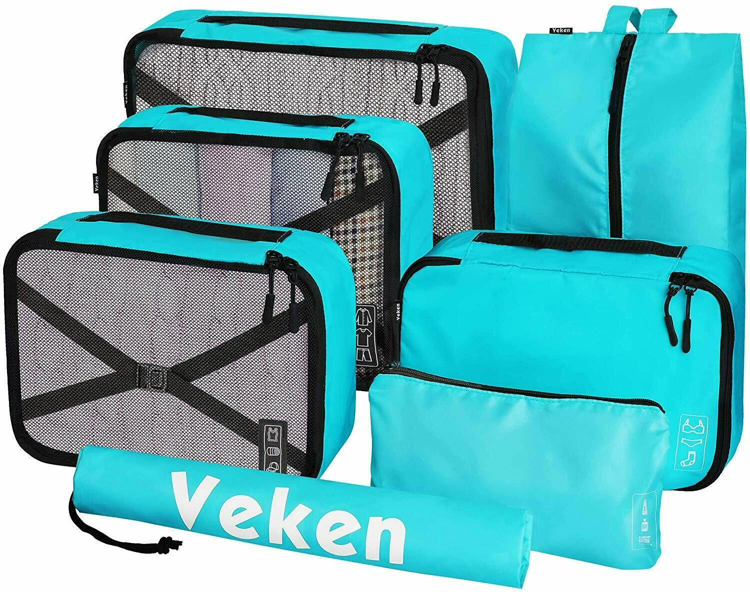 Veken 7 Set Packing Cubes, Travel Organizers Accessories with Laundry ...