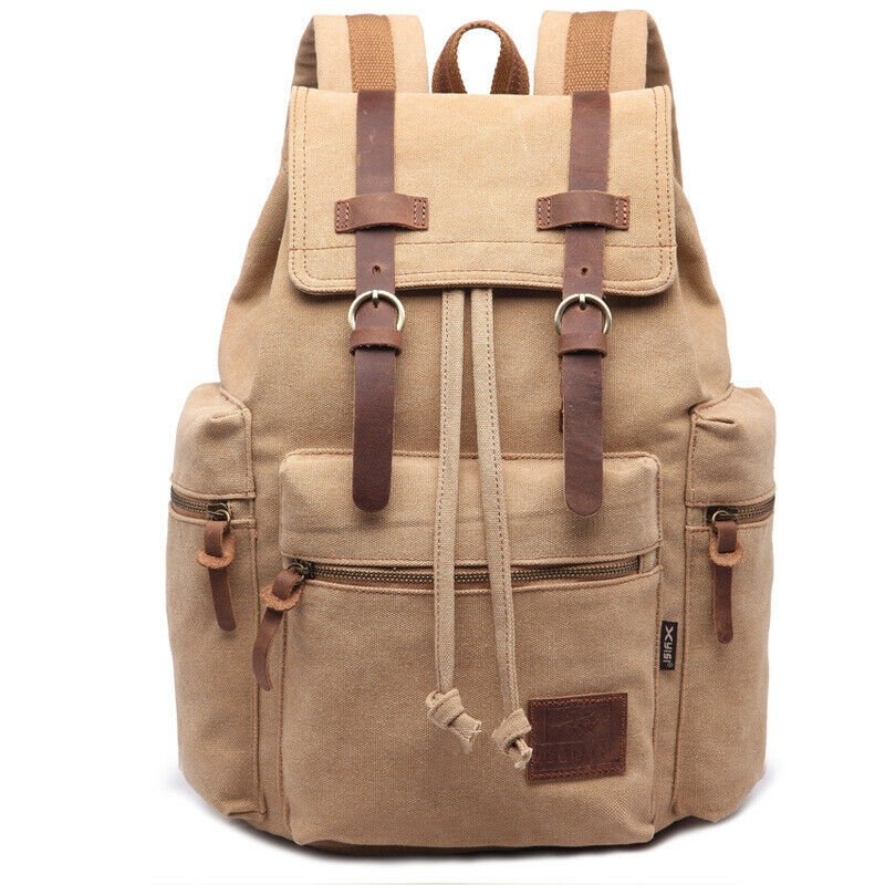Vintage Style Canvas Backpack Rucksack Schoolbag Travel Hiking Bag Spo...