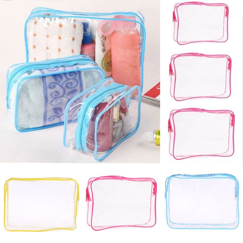 Waterproof PVC Travel Storage Bags Cosmetic Packing Cube Luggage Organ...