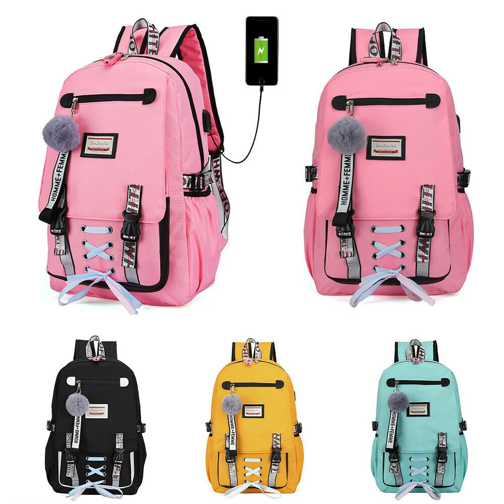 Women Canvas Girls School Bag Backpack Waterproof w/Anti Theft USB Por...