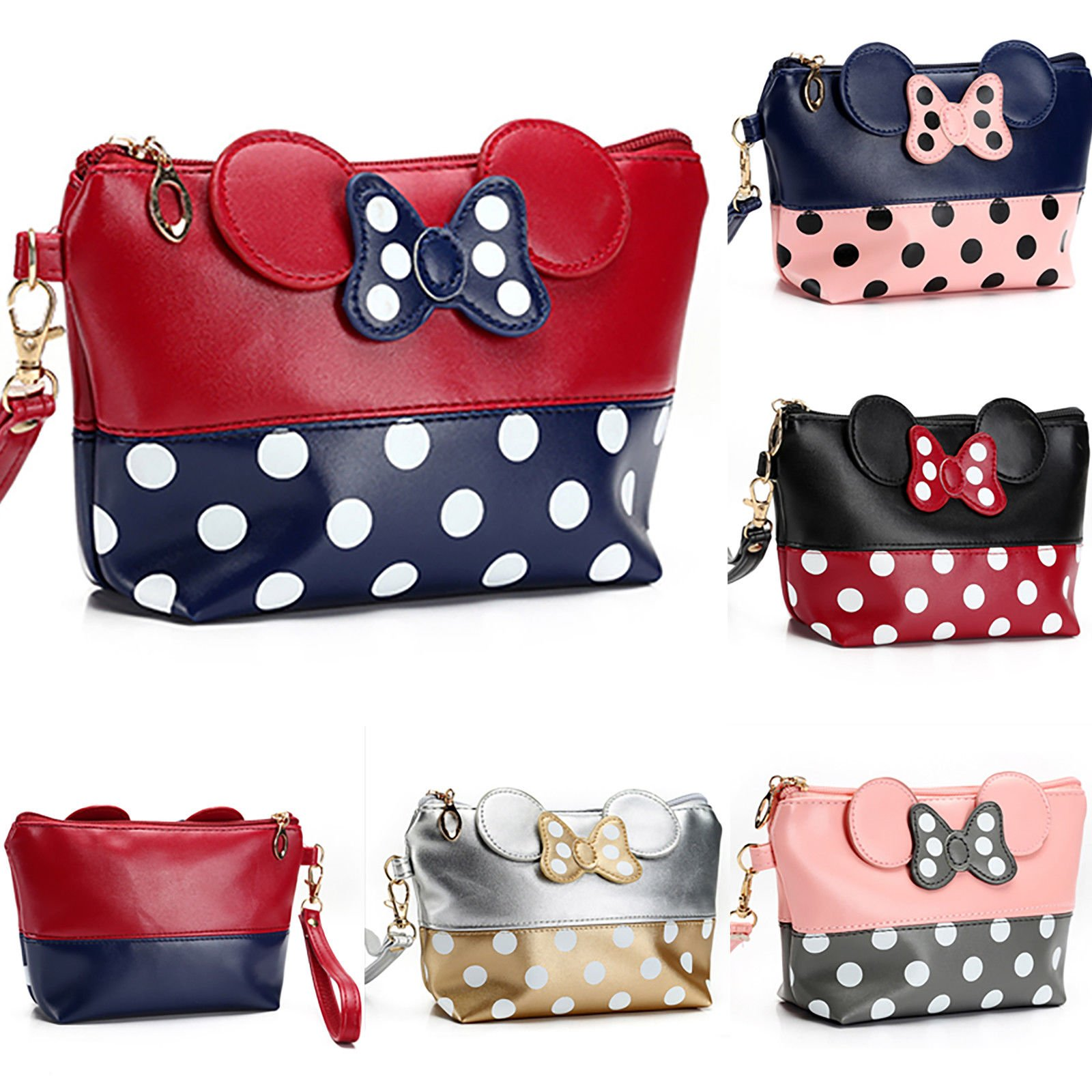 Women Travel Cosmetic Bag Cartoon Minnie Mouse Case Zipper Makeup Bag ...