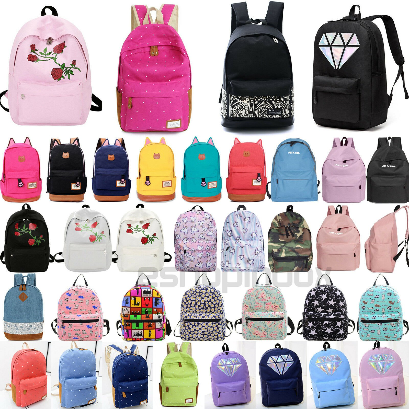 Womens Girls Canvas School Backpack Shoulder Book Bags Travel College ...