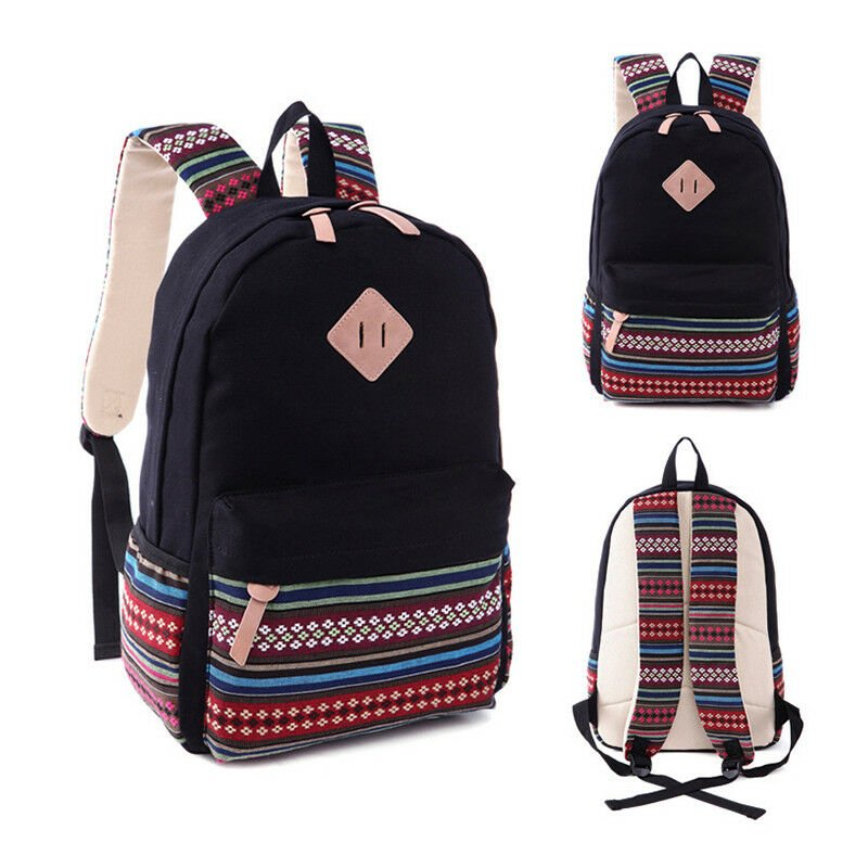 Womens Ladies Tribal Canvas Backpack Shoulder School Book Bag Travel R...